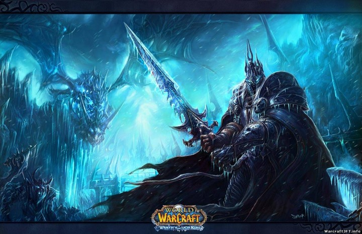 Arthas, unseparated from his cursed sword, Frostmourn!