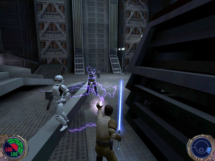Kyle Katarn and his trusted lightsaber in Jedi Knight 2: Jedi Outcast