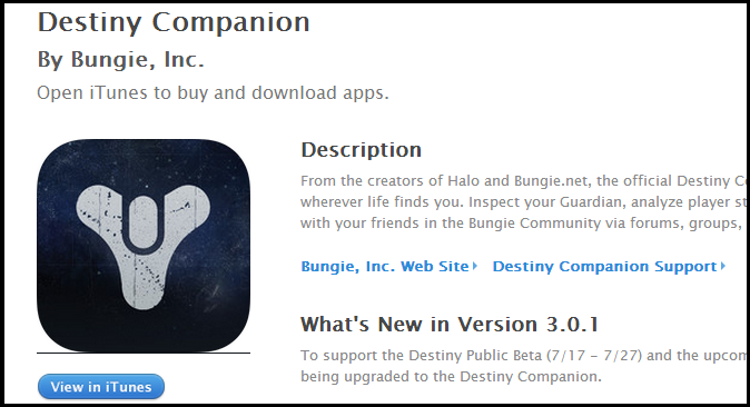 Destiny Companion App is Available for Download