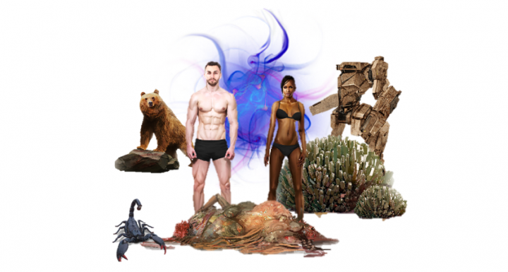 Seven species in After Reset: post-apocalypse graphics