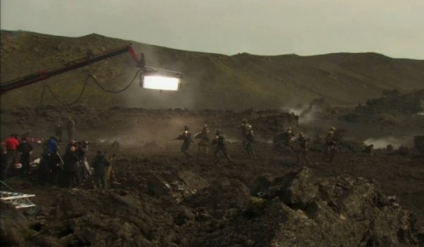 The whole team filming in the rocky environment of iceland.