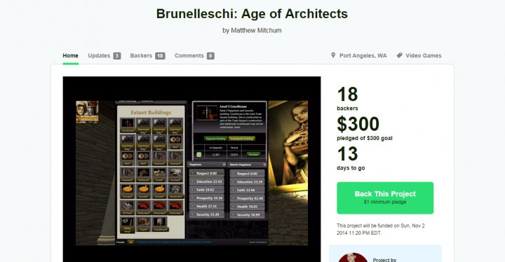 Brunelleshi: Age of Architects is 100% Funded at KickStarter