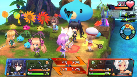 Chibi Characters in Battle Mode in HD Noire: Goddess BH