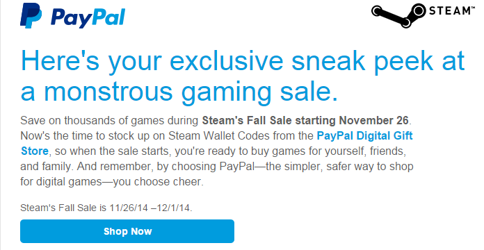 Steam Fall Sale dates revealed by PayPal – November 26 to December 1